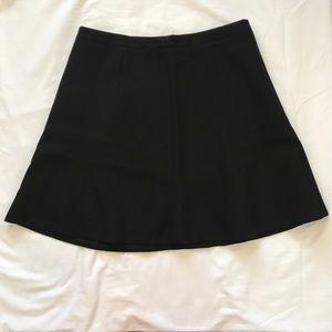 Black J. Crew Double Crepe Fluted Skirt